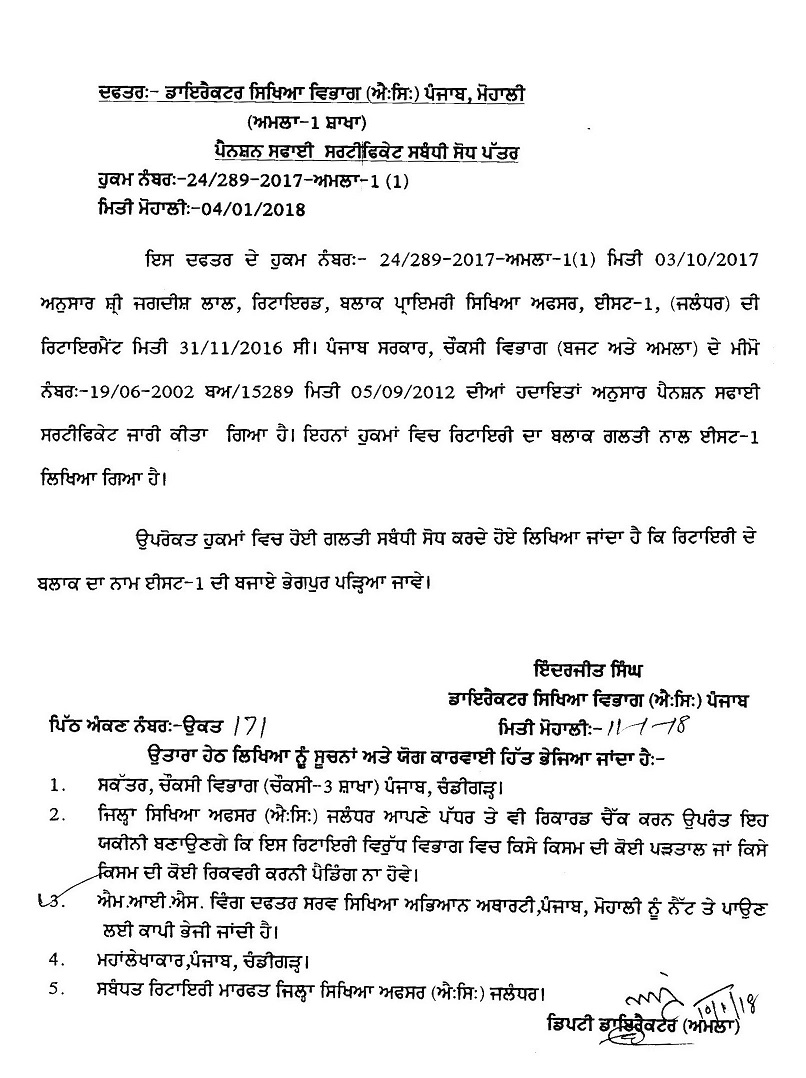 Correction in Pension Clearance Certificate – Punjab Govt  Notification