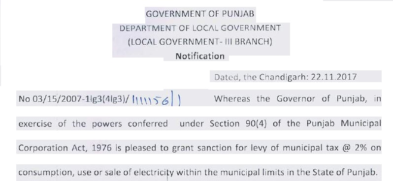 Levy of Municipal tax on Consumption of Electricity within the Corporation Limit