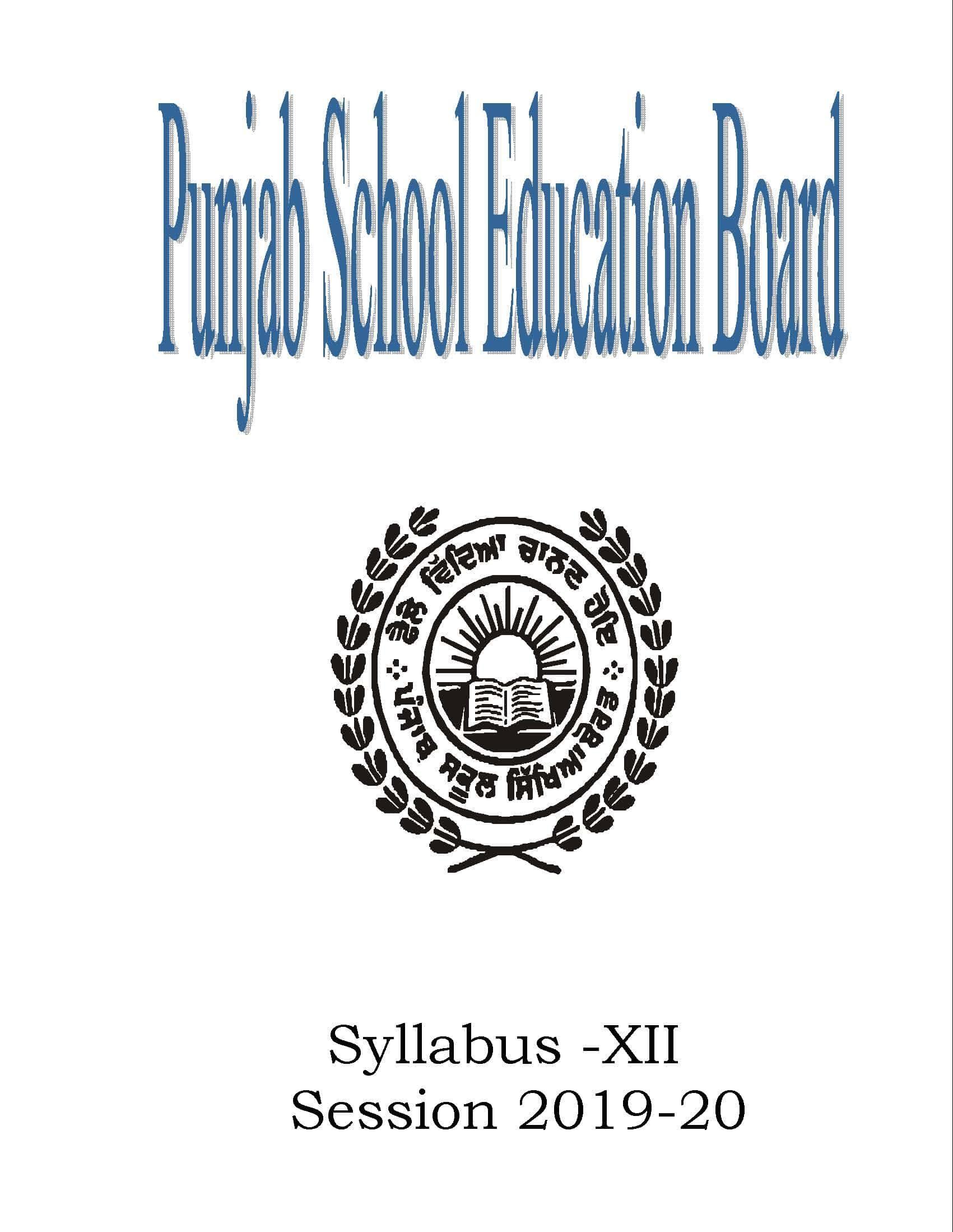 Syllabus from Academic Year 2019-20 of Punjab School Education Board